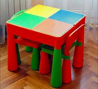Детский столик для творчества, игр с LEGO, водой, песком(в комплекте 2-ва стульчика)