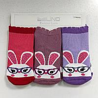 Махровые носки для новорожденной девочки 3 пары, р. 6-12 мес, Турция
