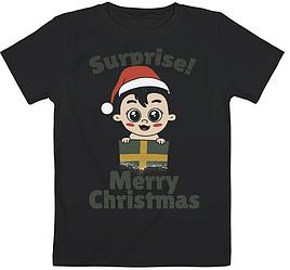 "Детская футболка ""Surprise! Merry Christmas"" (чёрная)"