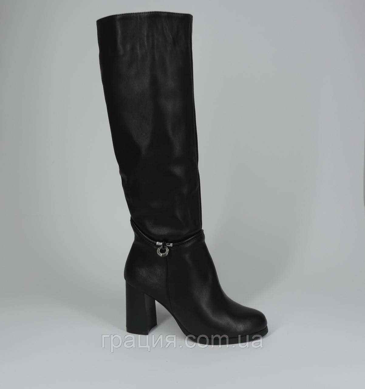 Елегантні жіночі шкіряні зимові чобітки на підборах