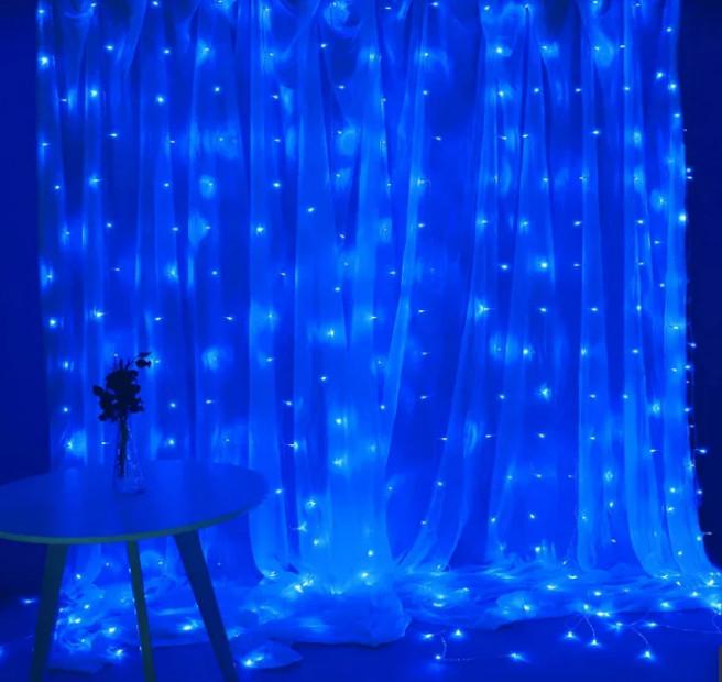 Электрическая гирлянда Водопад 300 LED 3 м х 1,5 м, синяя