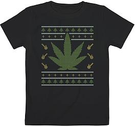 """Детская футболка """"Weed Ugly Christmas"""" (чёрная)"""