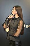 Рубашка блузка женская, черного цвета, котон с прозрачными рукавами, Турция, фото 2