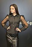 Рубашка блузка женская, черного цвета, котон с прозрачными рукавами, Турция, фото 6