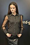 Рубашка блузка женская, черного цвета, котон с прозрачными рукавами, Турция, фото 5
