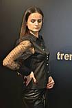 Рубашка блузка женская, черного цвета, котон с прозрачными рукавами, Турция, фото 3
