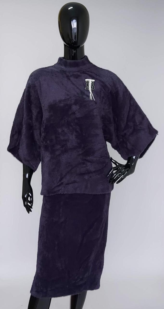 Костюм женский меховой юбка с кофтой «Альпака Эмблема»