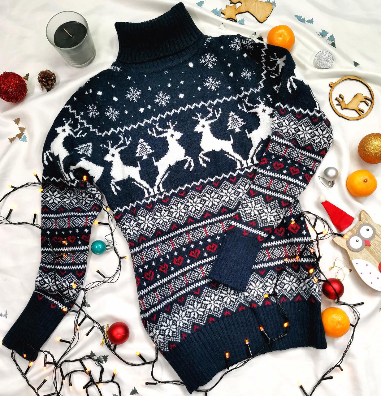 Теплий жіночий в'язаний светр з оленями синій