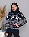 Теплий жіночий в'язаний светр з оленями синій, фото 2