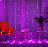 Электрическая гирлянда Водопад 480 LED 3 м х 3 м, фиолетовый RGB - цвета, фото 2