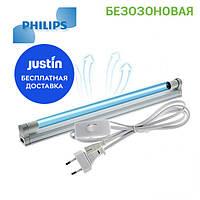 Безозоновая кварцевая бактерицидная лампа облучатель Philips 15 ватт
