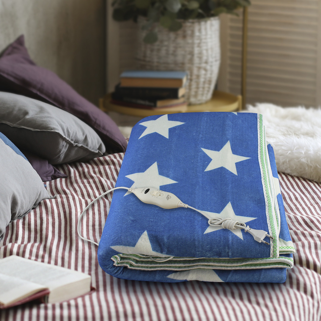 Электропростынь с сумкой electric blanket 150*170 белая звезда на синем фоне