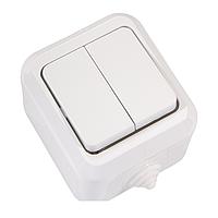 Выключатель двухклавишный IP44 белый Makel
