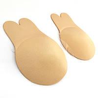 Многоразовые силиконовые наклейки с ушками для поднятия груди, размер  L/XL(В) 11 см, телесные
