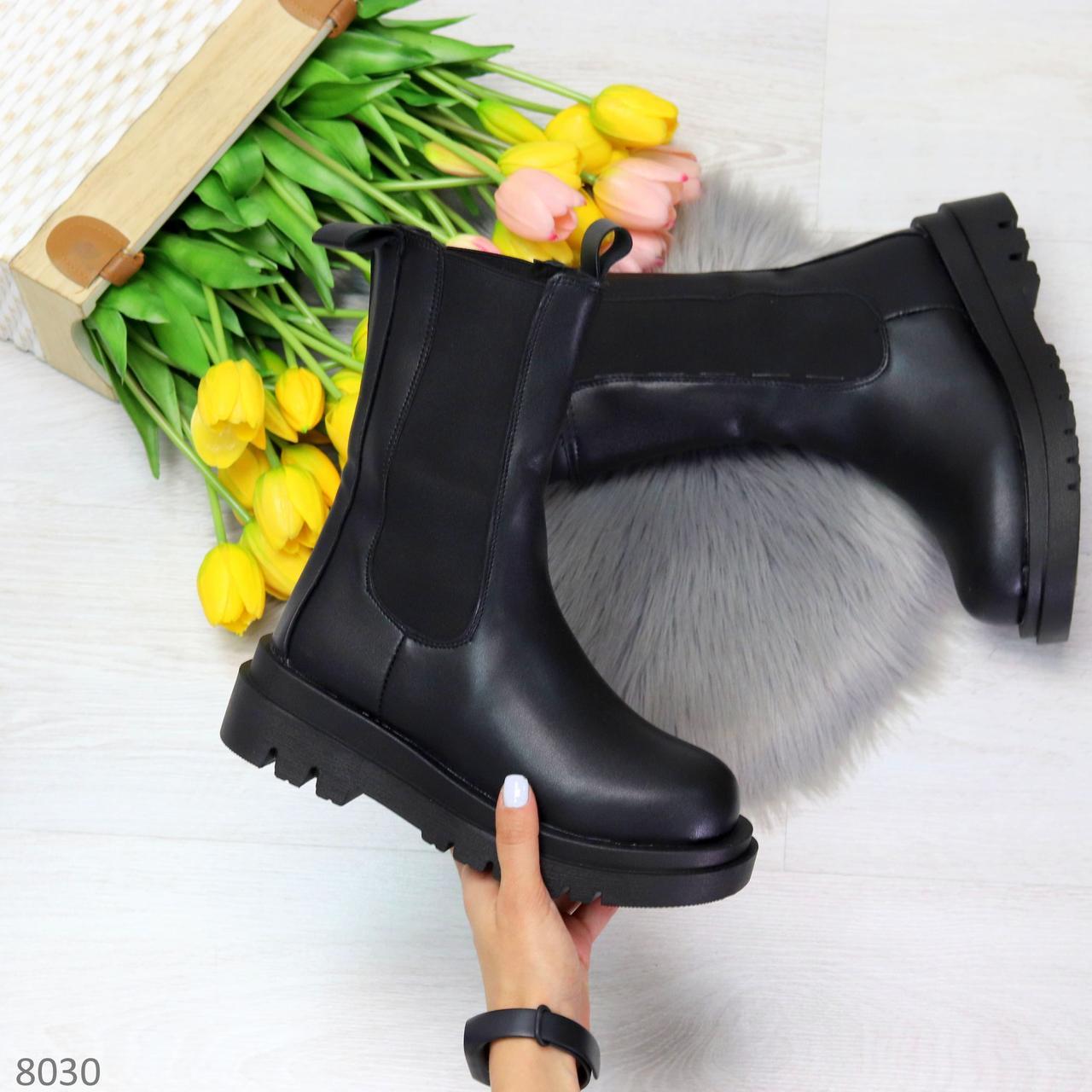 Крутые высокие черные зимние женские ботинки с эластичными вставками