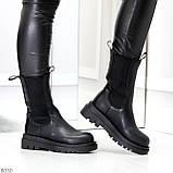 Крутые высокие черные зимние женские ботинки с эластичными вставками, фото 3
