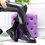 Крутые высокие черные зимние женские ботинки с эластичными вставками, фото 6
