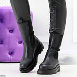 Крутые высокие черные зимние женские ботинки с эластичными вставками, фото 7