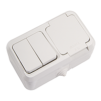 Выключатель двухклавишный + Розетка с крышкой и заземлением IP44 белый Makel