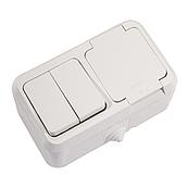 Вимикач двоклавішний + Розетка з кришкою і заземленням IP44 білий Makel