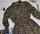 Вельветовое платье классическое коричневое с цветочным принтом, фото 2