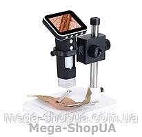 """Микроскоп цифровой электронный 600Х с монитором 3.5"""" для наблюдения, пайки, детей. Мікроскоп цифровий S2W"""