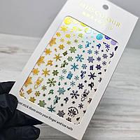 Слайдер дизайн, наклейки для ногтей новогодние, новый год, снежинки №247 галограмные с градиентом