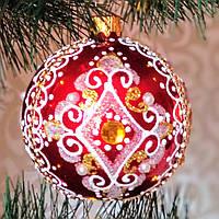 """Новогодний шар """"Фигурные узоры"""" 80 мм"""