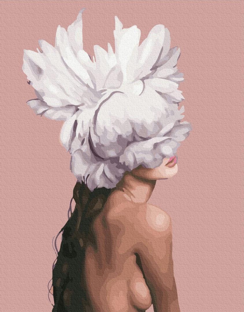 Картина по номерам. Девушка-пион Эми Джадд, 40*50 см, Brushme, Премиум, цветной холст, лак  в комплекте