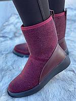 Ботинки женские зимние с супинатором 6 пар в ящике бордового цвета 36-41, фото 4