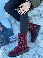 Ботинки женские зимние с супинатором 6 пар в ящике бордового цвета 36-41, фото 2