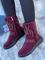 Ботинки женские зимние с супинатором 6 пар в ящике бордового цвета 36-41, фото 3