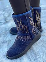 Ботинки женские зимние с супинатором 6 пар в ящике синего цвета 36-41, фото 4