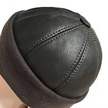 Коричневая мужская шапка спорт из тонкой натуральной овчины