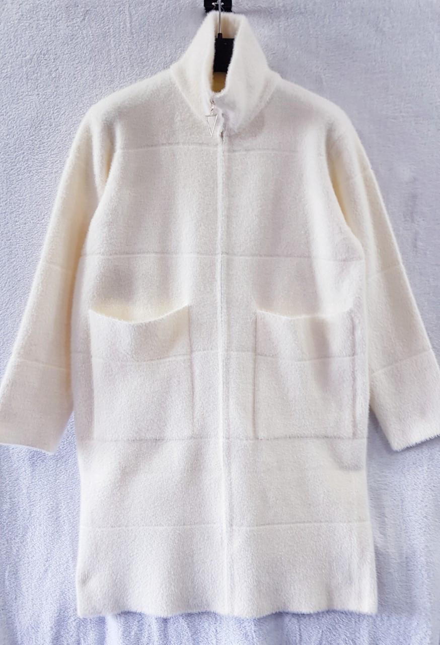 Удлиненное пальто меховое с высоким горлом 44-48 (в расцветках)