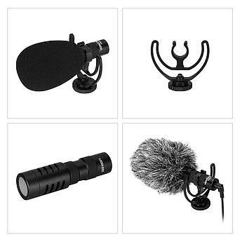 Направленный накамерный микрофон Yongnuo YN220 для фотоаппарата (камеры, смартфона)