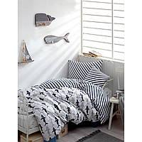 Постельное белье Enlora Home - Shark laci-beyaz синий-белый ранфорс полуторный