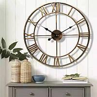 Часы настенные (50 см) металлические большие лофт старое золото, [Металл]