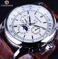 Часы наручные мужские механические с автоподзаводом классические Forsining 319 Brown-Silver-White 1059-0024