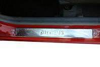 Kia Picanto 2004-2011 гг. Накладки на пороги OmsaLine (4 шт, нерж.)