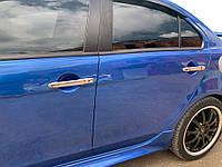 Mitsubishi Lancer X 2008↗ гг. Накладки на ручки (4 шт) Без чипа, OmsaLine - Итальянская нержавейка