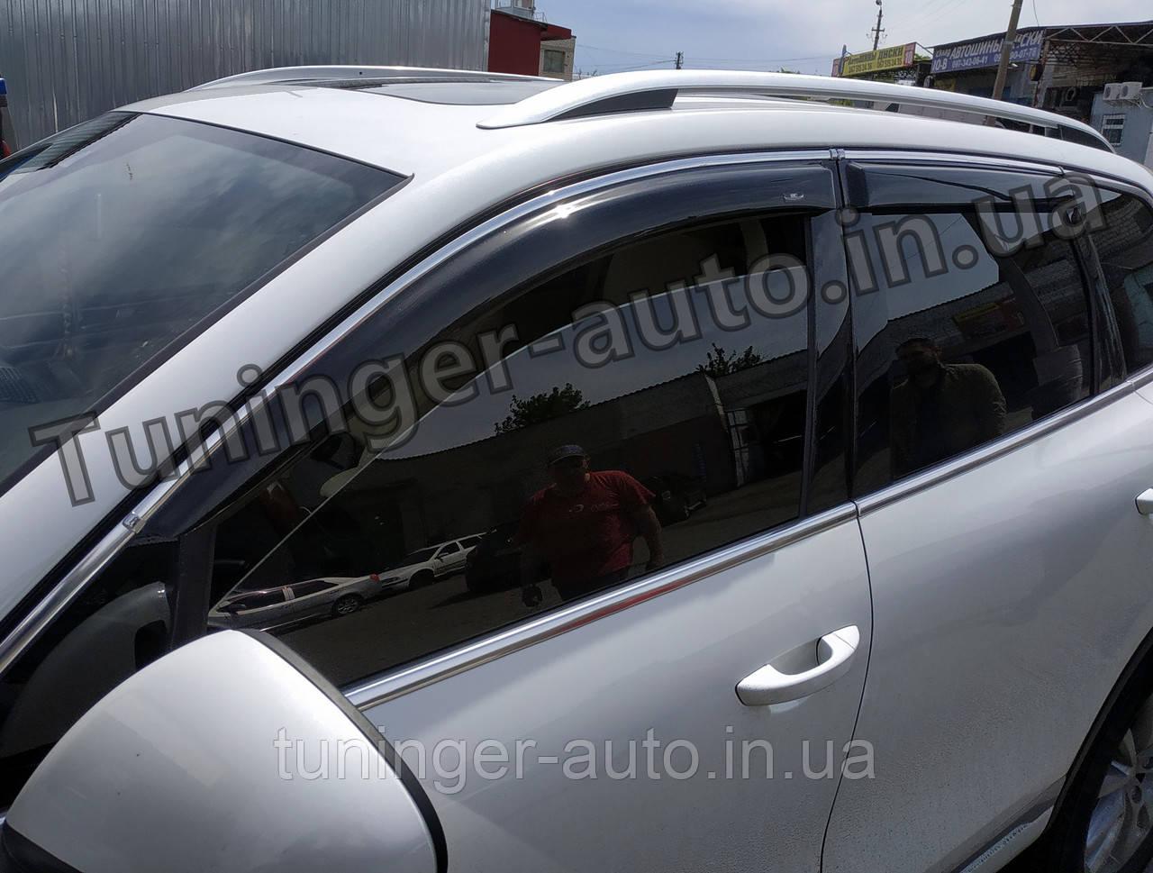 Ветровики с хром молдингом, дефлекторы окон Volkswagen Touareg 2011-2018 (Hic)