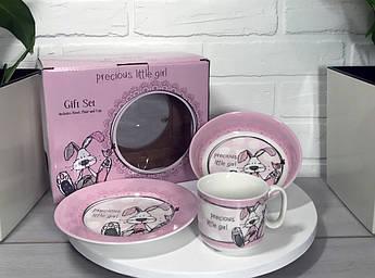 Набір дитячого посуду для дівчинки Зайчик 3пр