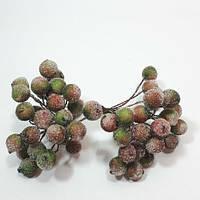 Красно-зеленые засахаренные ягоды 1уп=50ягод для новогоднего декора d=1,2см, фото 1