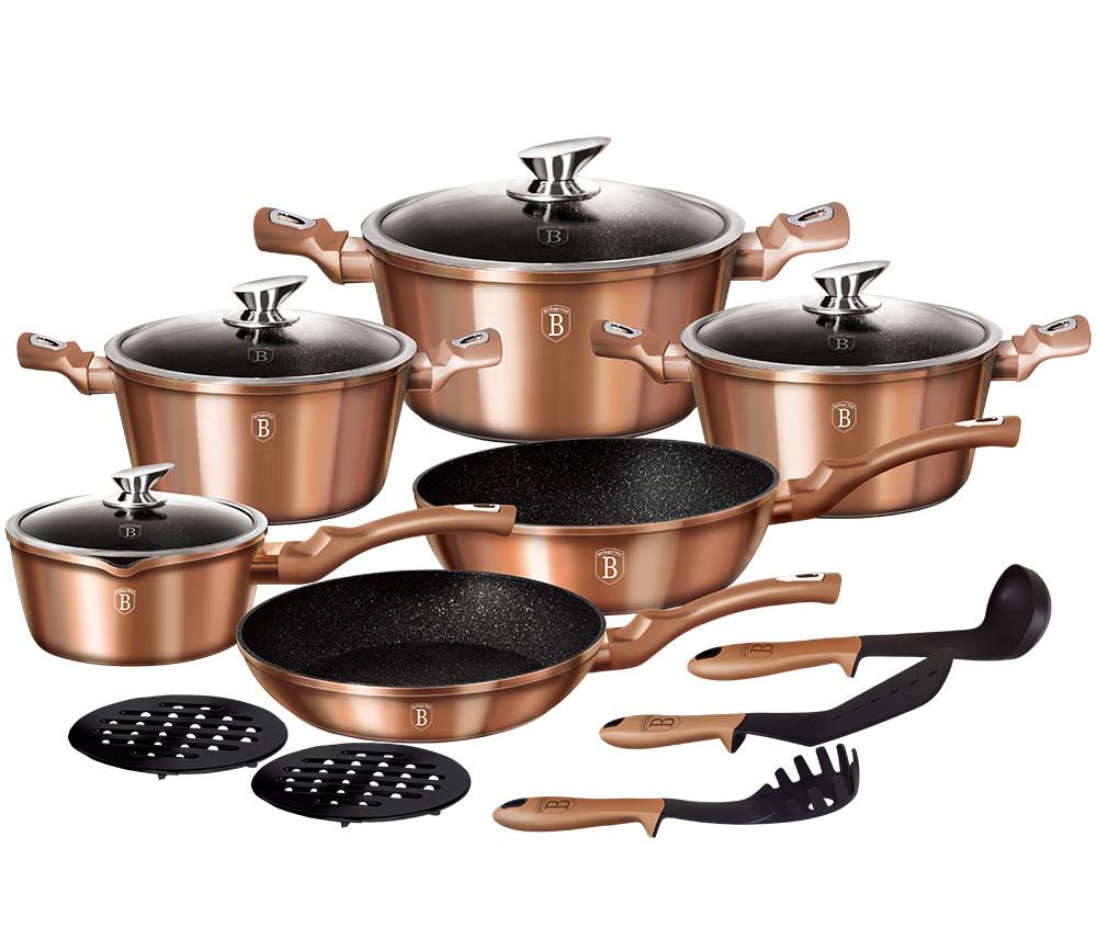 Набор посуды с антипригарным покрытием Berlinger Haus ROSE GOLD 15пр