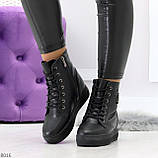 Молодежные черные полу спортивные женские ботинки натуральная кожа, фото 2
