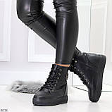 Молодежные черные полу спортивные женские ботинки натуральная кожа, фото 3