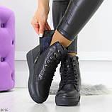 Молодежные черные полу спортивные женские ботинки натуральная кожа, фото 4