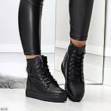 Молодежные черные полу спортивные женские ботинки натуральная кожа, фото 5