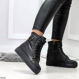 Молодежные черные полу спортивные женские ботинки натуральная кожа, фото 6